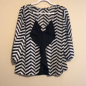 Cute Chevron shirt with bow back